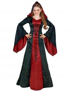 Düstere Kultistin Gothic-Damenkostüm für Halloween schwarz-rot