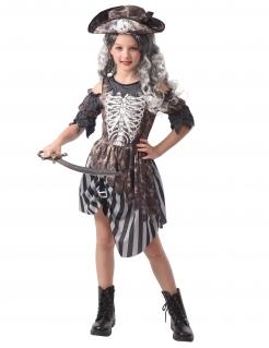Schreckiche Geisterpiratin Halloween-Kostüm für Mädchen grau-weiß-schwarz