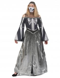Untote Skelett-Prinzessin Halloween-Kostüm für Damen schwarz-weiß-grau