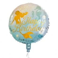 Festlicher Meerjungfrauen-Geburtstagsballon blau-goldfarben 45 cm