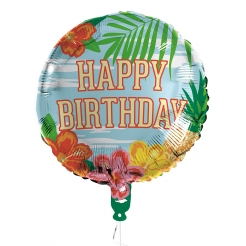 Tropischer Happy Birthday-Aluminiumballon bunt 45 cm