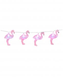 Leuchtende Flamingo-Girlande pinkfarben 140 cm