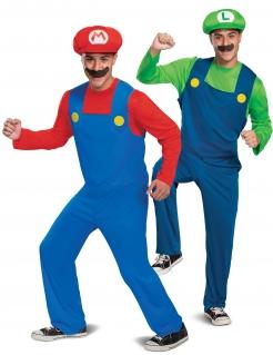 Offizielles Super Mario™ und Luigi™ Paarkostüm für Erwachsene blau-rot-grün