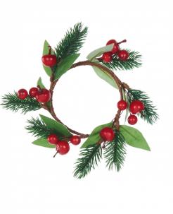 Tannen-Weihnachtskranz mit Beeren Weihnachts-Tischdeko grün-braun-rot 18 cm
