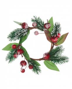 Festlicher Weihnachtskranz Weihnachts-Tischdeko grün-rot-braun 18 cm