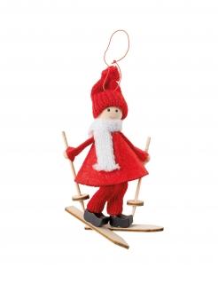 Fröhlicher Skifahrer Weihnachtsbaum-Schmuck rot-weiß-braun 11 cm