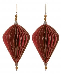 Origami Weihnachts-Aufhänger Rauten 2 Stück rot-goldfarben 13 cm