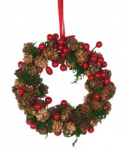 Hängender Adventskranz traditionelle Weihnachts-Hängedeko grün-braun-rot