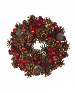 Adventskranz rote Beeren Weihnachts-Tischdeko rot-braun 25 cm