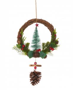 Traditionelle Tannenbaum-Hängedeko Weihnachten bunt 39 cm