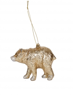 Bären-Aufhänger Weihnachtsbaum-Schmuck goldfarben 12 cm