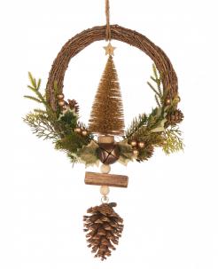 Tannenbaum-Weihnachtskranz Weihnachts-Hängedeko bunt 39 cm
