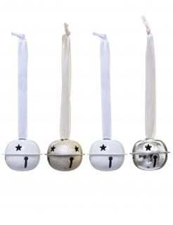 Festliche Glocken-Aufhänger Christbaumschmuck für Weihnachten 4-teilig weiß-goldfarben-silberfarben