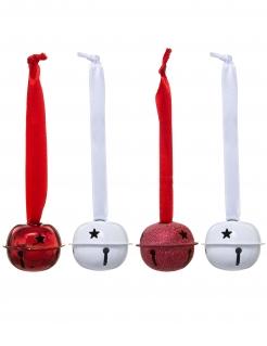 Glocken-Set aus Metall Christbaum-Schmuck 4-teilig weiß-rot 10 x 4 cm
