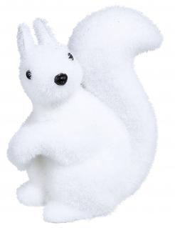 Schneeweißes Eichhörnchen Weihnachts-Tischdeko weiß-schwarz 12 cm