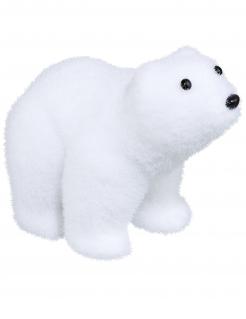 Flauschiger Eisbär Weihnachts-Tischdeko weiß-schwarz 10 cm