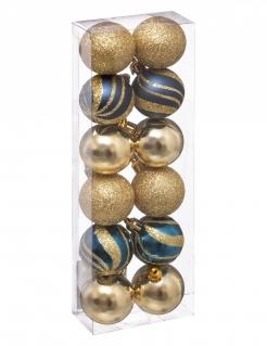 Glänzende Christbaumkugeln Weihnachts-Dekoset 12-teilig goldfarben-blau 4 cm