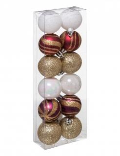 Festliches Weihnachtskugel-Set Christbaum-Deko 12-teilig weiß-rot-goldfarben 4 cm