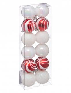 Glänzende Weinachtskugeln-Dekoset 12-teilig weiß-rot 4 cm