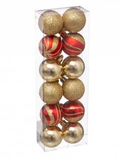 Hübsche Christbaumkugeln Weihnachts-Hängedeko 12 Stück rot-goldfarben 4 cm