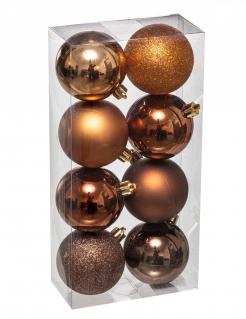 Elegante Christbaumkugeln Weihnachts-Dekoset 8-teiig bronze-goldfarben 7 cm