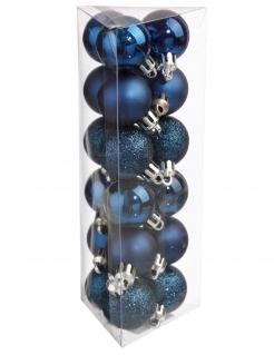 Winterliche Christbaum-Kugeln 18 Stück blau 3 cm