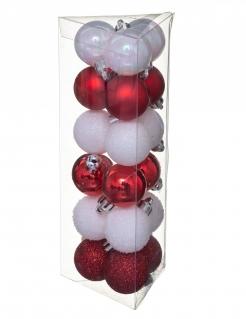 Traditionelles Weihnachtskugel-Set 18-teilig weiß-rot 3 cm