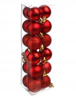 Schöne Christbaumkugeln Weihnachts-Hängedeko 18 Stück rot 3 cm