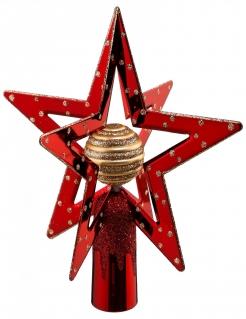 Doppel-Stern Christbaumspitze rot-goldfarben 19 cm