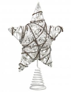 Geflochtener Stern Christbaumspitze für Weihnachten weiß-grau 20 cm