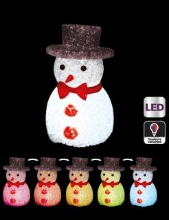 Leuchtende LED-Schneemann Dekoration Weihnachten bunt 11 cm
