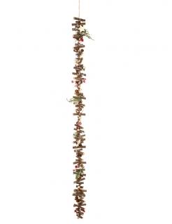 Kleine Holzstämme Naturholz-Girlande für Weihnachten braun-grün-rot 1 m