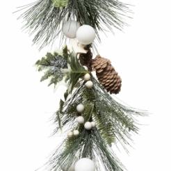 Weihnachtsgirlande Tannenzapfen grün-weiß-braun 1 m