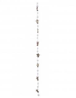 Weihnachtsgirlande Schnee und Sterne weiß-braun 140 cm