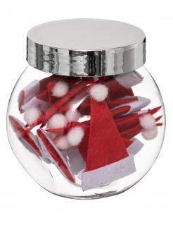 Nikolaus-Mützen Tischdeko Weihnachten 18 Stück rot-weiß 8 cm