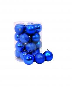 Glänzende Weihnachtsbaumkugeln 20 Stück dunkelblau 8 cm