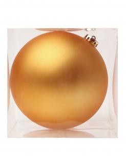 Matte Weihnachtskugel aus Glas Christbaum-Schmuck goldfarben 15 cm