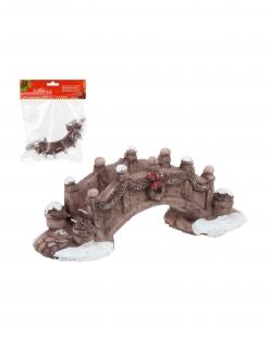 Weihnachtsdorf-Brückendeko braun 14 x 10 cm
