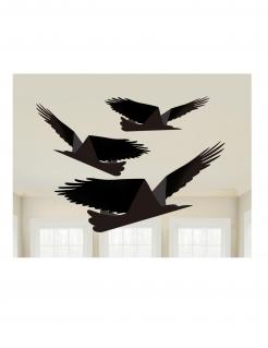 Horror-Vögel Halloween-Hängedeko 3-teilig schwarz 33-43 cm