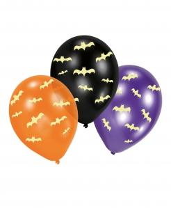 Nachtleuchtende Fledermaus-Latexballons 6 Stück schwarz-violett-orangefarben 27,5 cm