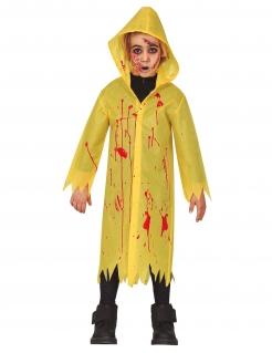 Blutiger Regenmantel Horrorfilm-Kinderkostüm für Halloween gelb-rot