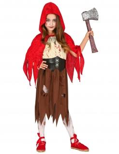 Blutrünstiges Zombie-Rotkäppchen Halloweenkostüm für Mädchen bunt