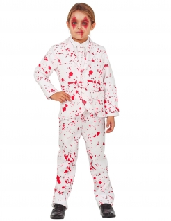 Killer-Bräutigam Kinderkostüm für Halloween weiß-rot