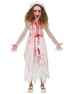 Blutige Killerbraut Mädchenkostüm für Halloween weiß-rot