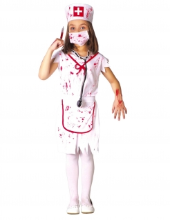 Hungrige Zombie-Krankenschwester Halloween-Kostüm für Mädchen weiß-rot
