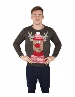 Festlicher Rentier-Weihnachtspullover für Erwachsene grau-rot-weiß