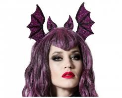 Glitzernder Fledermaus-Haarreif für Erwachsene Halloween-Accessoire violett 29 x 19 cm