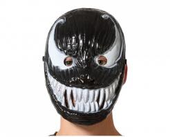 Spinnen-Superschurke Halloween-Halbmaske für Erwachsene schwarz-weiß