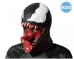 Gruseliges Superschurken-Spinnenmonster Latexmaske für Erwachsene schwarz-weiß-rot