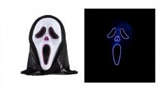 Schreiender Geist LED-Maske für Erwachsene schwarz-weiß-violett